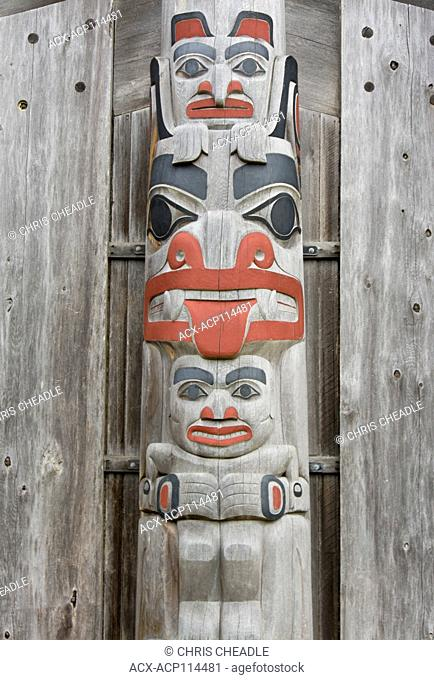 Totem pole detail, Old Massett school, Haida Gwaii, formerly known as Queen Charlotte Islands, British Columbia, Canada
