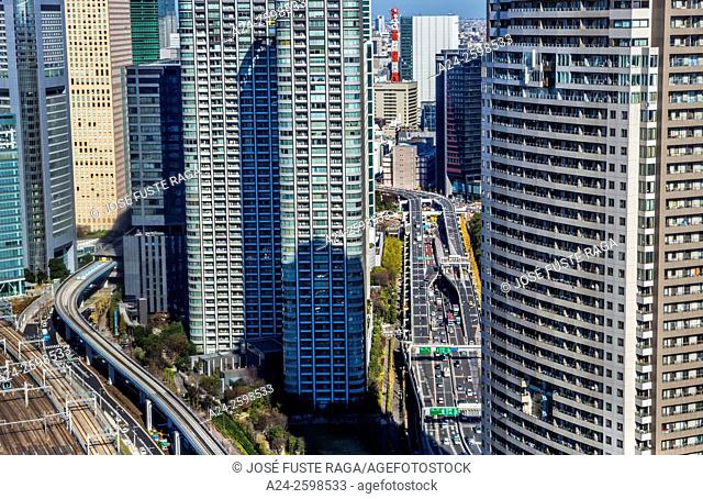 Japan, Tokyo City,Yamanote Line and Shuto expresway at Shiodome District