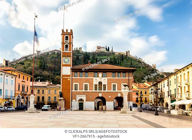 Castle, Marostica, Province of Vicenza, Veneto, Italy. Medieval town surrounded by walls