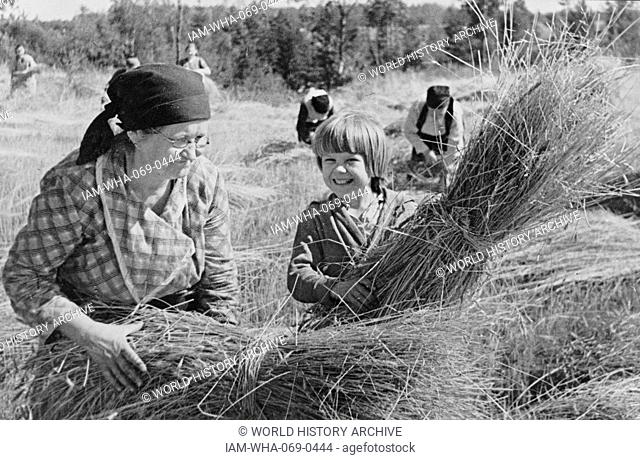 Photograph of Harvest time at a collective farm in the USSR