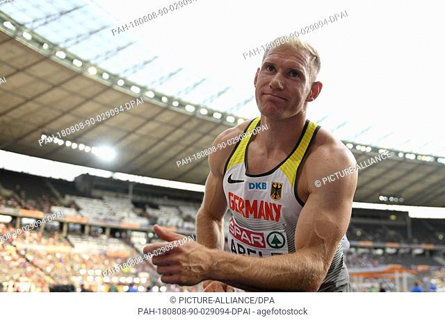 08 August 2018, Germany, Berlin: Athletics, European Championships in the Olympic Stadium: Decathlon, javelin, men, Arthur Abele from Germany reacts