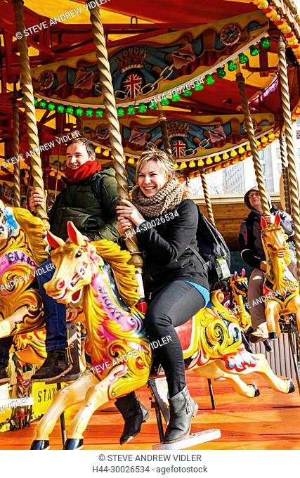 England, London, Southwark, Bankside, Tourists on Carousel