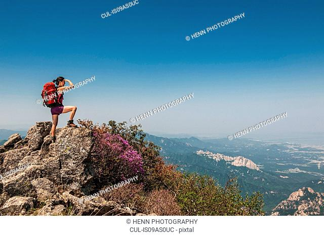 Female hiker on ridge on route to Daecheongbong peak, Seoraksan National Park in South Korea