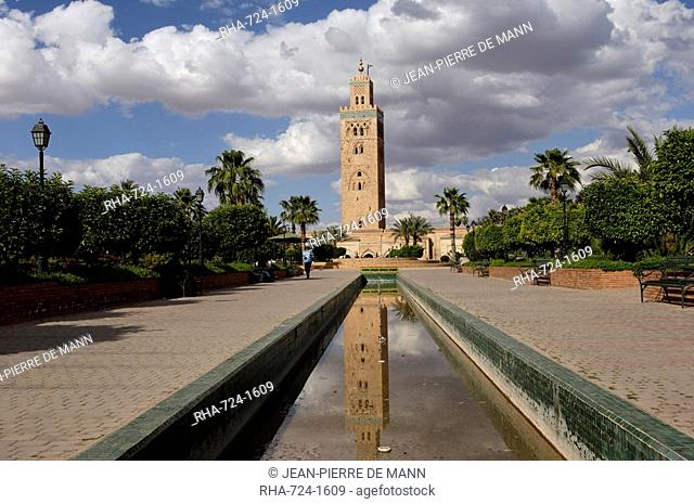 The Koutoubia minaret in the heart of the old medina next to a mosque of the same name, built in the 12th century, Marrakesh, Morocco, North Africa, Africa