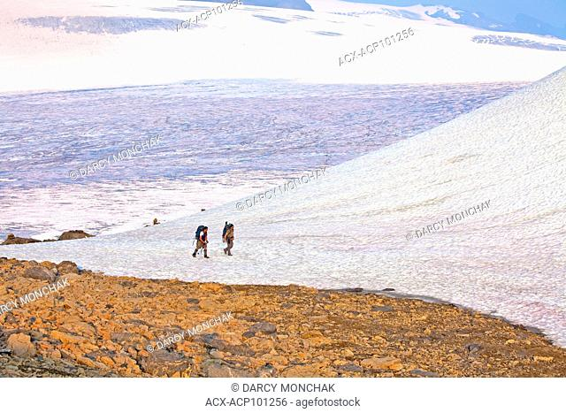 Hikers of East Indian descent at Snowbird Pass, Canadian Rockies