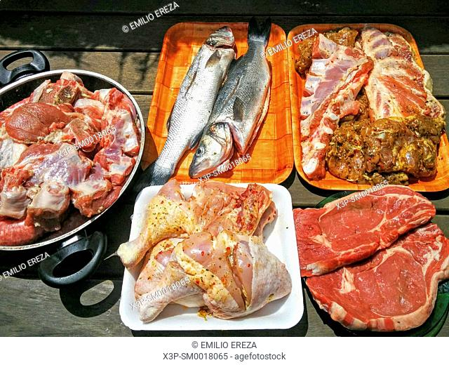 Raw meat and fish for barbecue