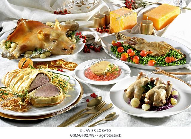 Christmas meat dishes still life