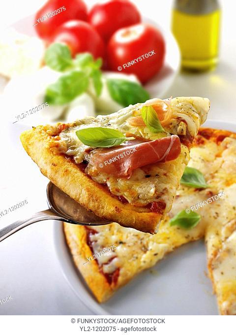 Italian procutto, thin crust Pizza