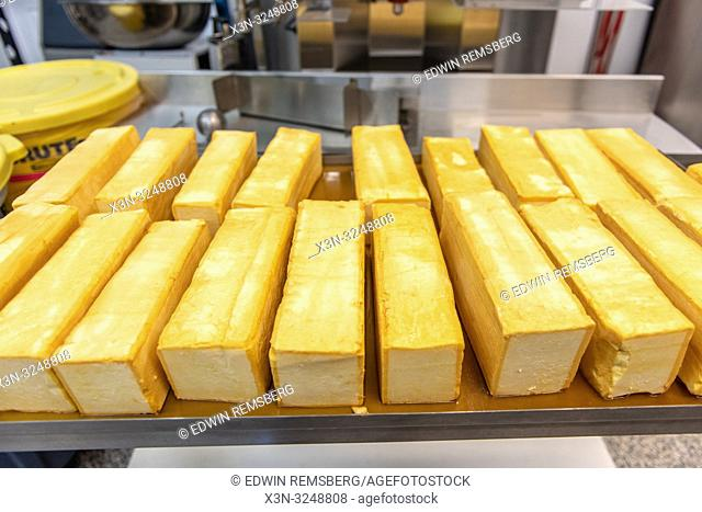 Blocks of freshly made cheese at dairy processing facility, Pokomoke, Maryland
