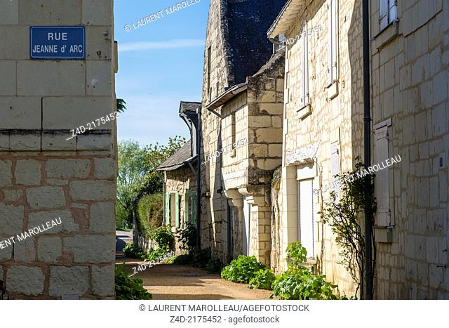 Street (Rue du Confluent) at Candes-Saint-Martin Village (One of the Most Beautiful Villages of France). It overlooks the confluence of the Vienne and Loire...