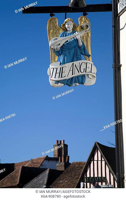 Sign for the Angel hotel, Lavenham, Suffolk, England