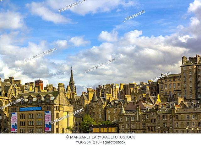 Old historical architecture in Edinburgh, Scotland, UK