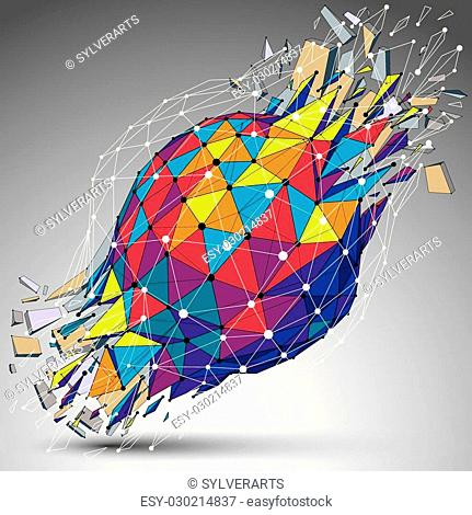 Abstract colorful 3d faceted figure with connected lines and dots. Vector low poly shattered design element with fragments and particles