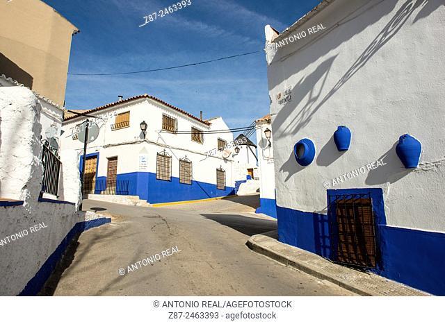 Campo de Criptana street and windmill, Ruta de Don Qujiote, Ciudad Real province, Castilla-La Mancha, Spain