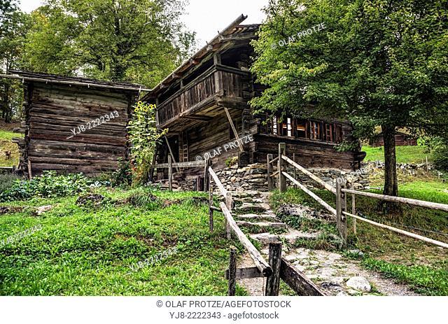 Valais Farm House Farmer house at the Open Air Museum Ballenberg, Berner Oberland, Switzerland