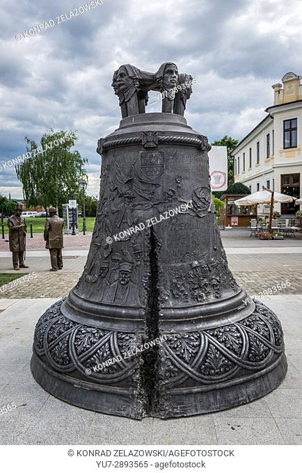 Bronze bell on University Park square of Alba Carolina Fortress in Alba Iulia city located in Alba County, Transylvania, Romania