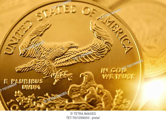 Close-up of gold coins