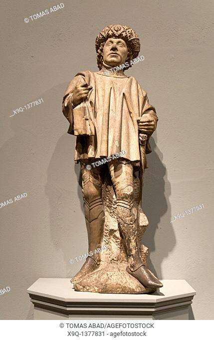 Saint Bavo, patron saint of Ghent and Haarlem, ca  1460, North Netherlandish, Made in Utrecht , Netherlands, Limestone with traces of paint Overall: 44 1/4 x 17...