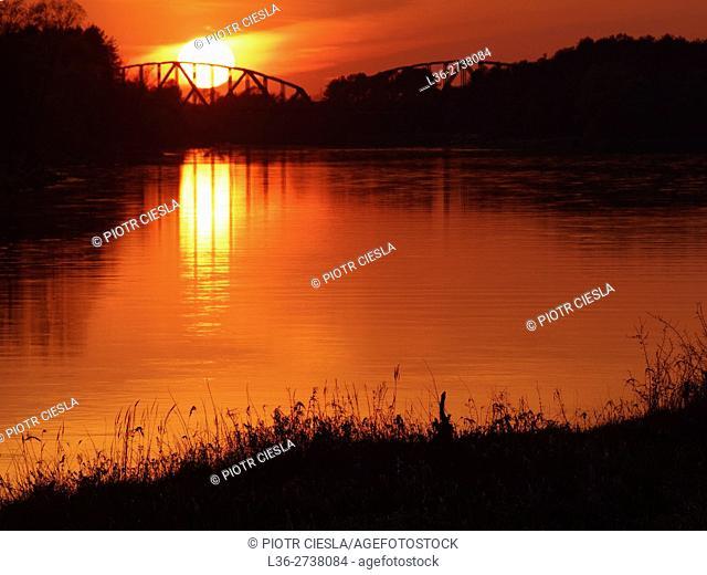 Poland. Spring. Sunset on Bug river near Mielnik