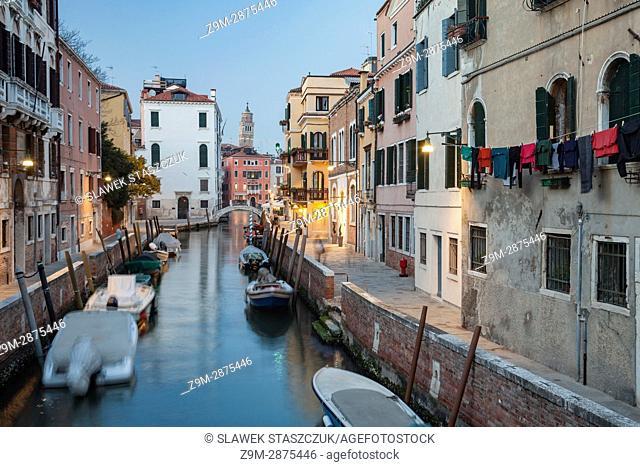 Night falls in Dorsoduro district of Venice, Italy
