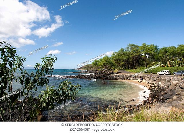 Perouse Bay. Maui. Hawaii. Haleakala's last display can be seen on Mau'i's southeast shore at La Perouse Bay. Scientists estimate that in 1790 Haleakala erupted...