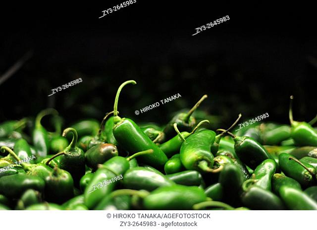 Green chilli peppers (chile serrano, sierra chilli) sold in Walmart in Tapachula, Chiapas, Mexico