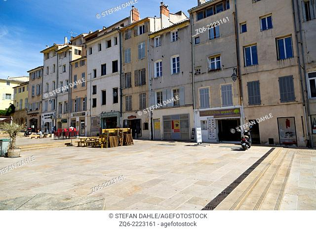 View over the Place Forum des Cardeurs in Aix-en-Provence, France