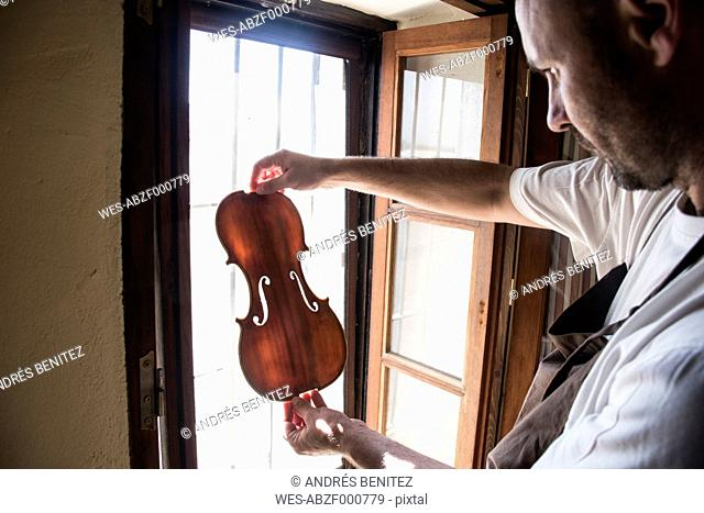 Luthier examining the top plate of a violin in his workshop