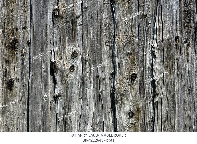 Old weathered wooden planks, wooden slats, on an old barn, Benediktbeuern, Upper Bavaria, Bavaria, Germany