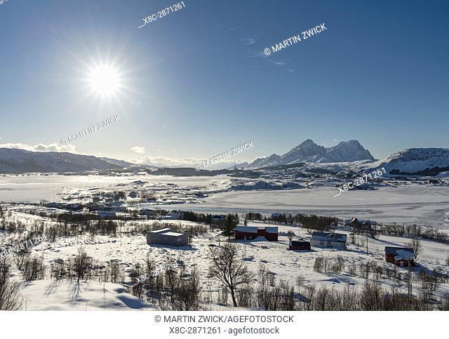 Landscape near Leknes, island Vestvagoy. The Lofoten islands in northern Norway during winter. Europe, Scandinavia, Norway, February