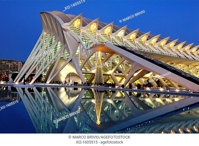 The City of Arts and Sciences (Ciutat de les Arts i les Ciències) designed by Santiago Calatrava, Valencia, Spain