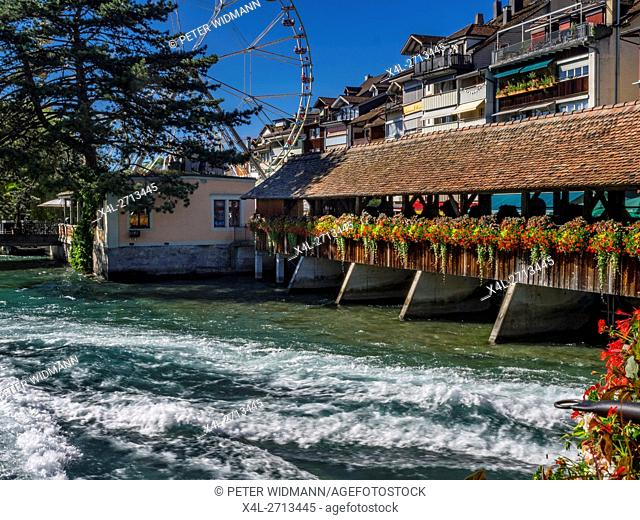 Thun at Lake Thun and Aar Bridge (Scherzlingschleuse), Bernese Oberland, Canton of Bern, Switzerland, Europe