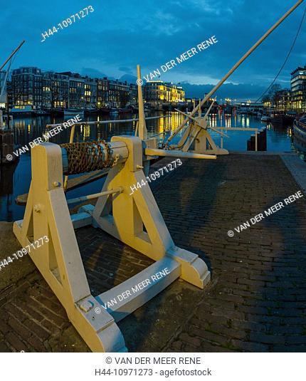 Netherlands, Holland, Europe, Amsterdam, locks, river, Amstel, city, village, water, winter, night, evening