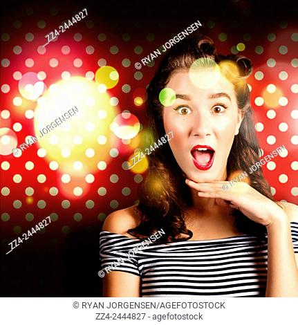 Comical stylised image of a cute pinup woman holding dropping jaw with a surprised expression of dotted shock. Speechless pinup woman