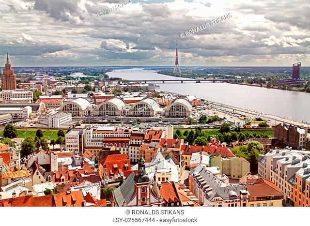 aerial view of Riga old town, city market and river Daugava