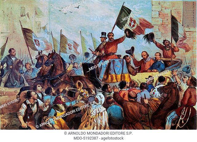 Giuseppe Garibaldi Triumphantly Greeted by the Sicilian Population (Giuseppe Garibaldi accolto trionfalmente dalla popolazione siciliana), by Jean Victor Adam
