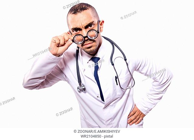Funny doctor isolated on the white