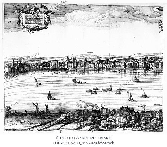 Claes Jansz Visscher Dutch school View of the Thames, the Somerset House and the Swan theatre on the opposite riverbank. Detail from Londinum Florentiss[i]ma...