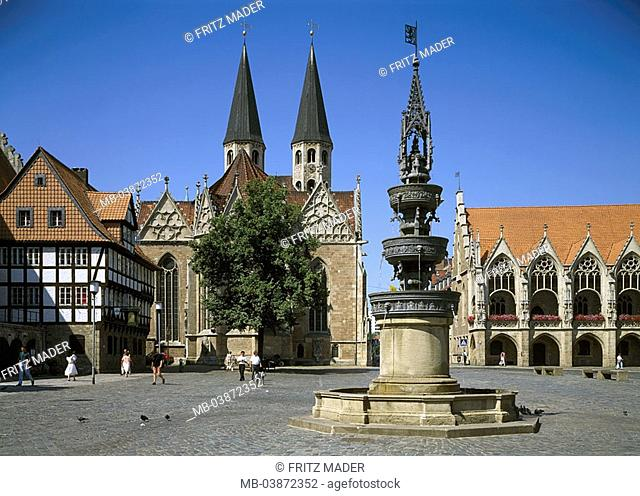 Germany, Brunswick, old part of town-market, old part of town-town hall, Marie-wells, church St  Martin, Lower Saxony, old part of town, place, wells
