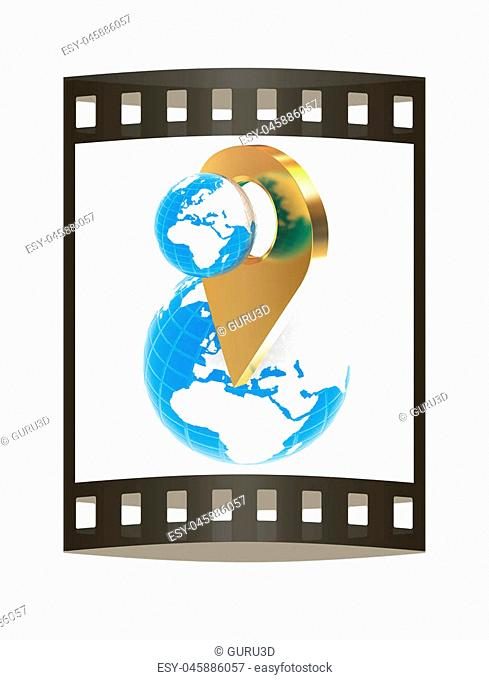 Planet Earth and golden map pins icon on Earth. 3d illustration.. The film strip
