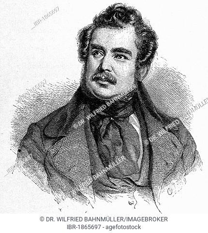 Philipp Gotthard Joseph Christian Karl Anton Freiherr von Zedlitz und Nimmersatt (1790 - 1862), writer, officer, lithography by J. Kriehuber, 1840