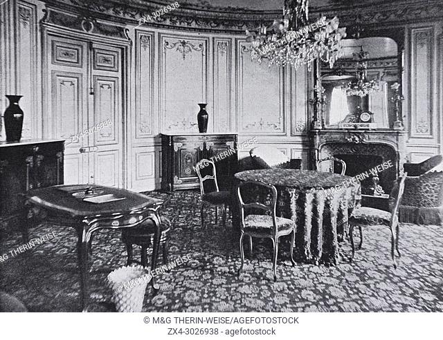 Scribe Hotel suite of South African President Kruger during his visit to France, Picture from the French weekly newspaper l'Illustration, 24th November 1900