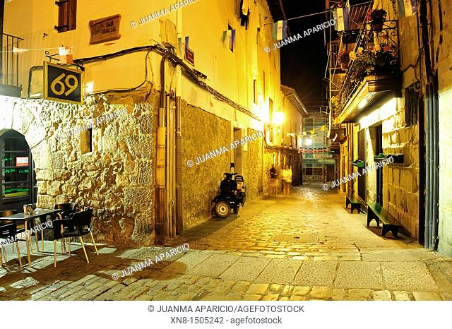 Night image of a street in the old part of Laredo, Cantabria, Spain