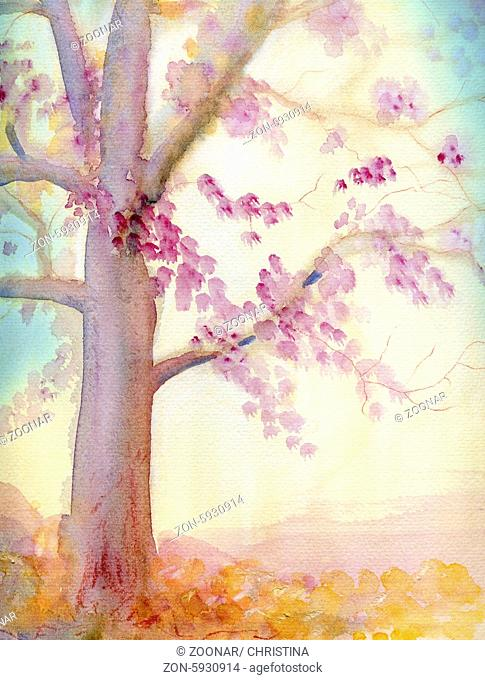 Autumn tree - watercolor abstract with texture, pink leaves and yellow afternoon light