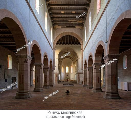 Collegiate Church of St. Peter, 12th century, Romanesque, Indoors, Kloster Petersberg near Halle an der Saale, the Romanesque Road, Saxony-Anhalt, Germany
