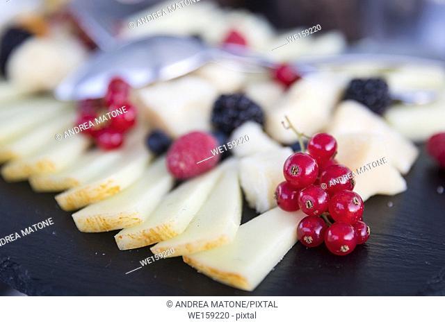 Cheese platter close up