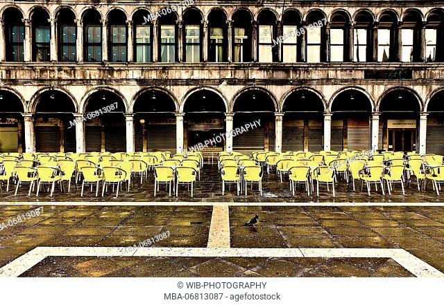 Italy, Venice, St Mark's Square, arcades, cafe, chairs