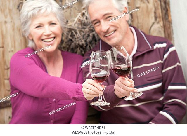 Italy, South Tyrol, Mature couple with wine glass at mountain hut
