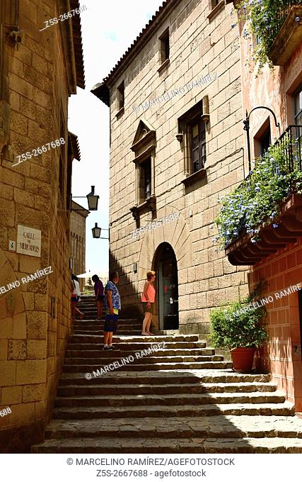 Poble Espanyol, Spanish village, traditional architectures in Barcelona, Catalonia, Spain, Europe