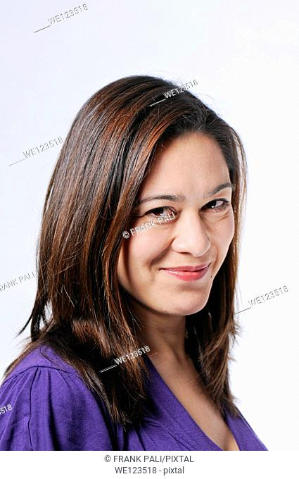 Big smile on a mixed race young lady with long hair